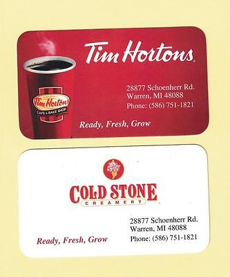 Tim Hortons USA Warren Michigan Business Card
