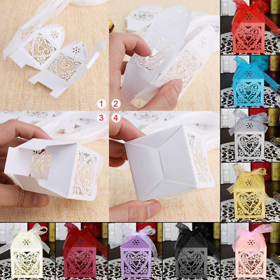 50/100/200 Love Heart Favor Ribbon Gift Boxes Candy Box Wedding Party Decor 1AE