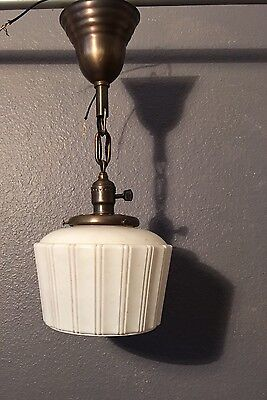 "18.5"" Brass Wired Pendant Light Fixture Antique Globe Wired!!"