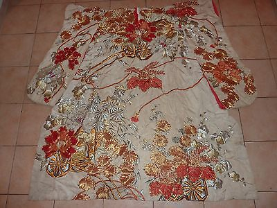 Vintage Japanese Silk Kimono With Gold/silver/red Flower &pattern Deco- Red Line