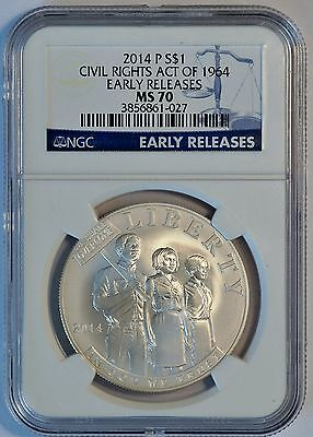 2014 P $1 US Civil Rights Act of 1964 Silver Coin (NGC MS 70 MS70) Early Release