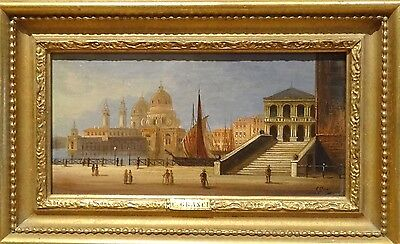 Fine 19th Century Italian School Venice Landscape Antique Oil Painting GRANCI