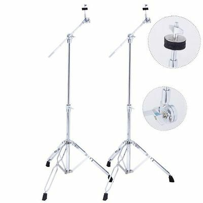 2 Pack Cymbal Boom Stand Drum Hardware Percussion Double Braced Tripod Holder ++