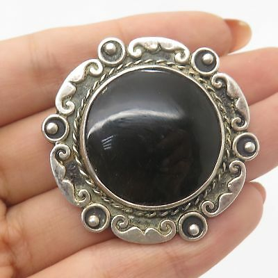 Jewelry & Watches Vtg Signed 925 Sterling Silver Real Black Onyx Gem 2-tone Bar Pin Brooch Vintage & Antique Jewelry