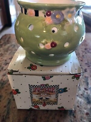Mary Engelbreit At Home Cottage Hostess green floral votive candle holder