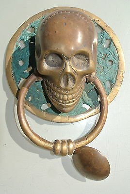 """used SKULL handle KNOCKER PULL solid BRASS green old style DOOR amazing 4.1/2"""""""