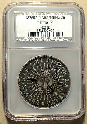 NGC NCS 1836 RA P ARGENTINA SUNFACE 8 REALES HOLED Choice Surfaces Attractive