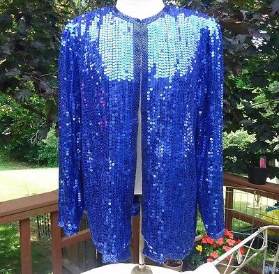 "Silk Sequins Evening Jacket Royal Blue by  ""Nite Line"" Size M VTG"