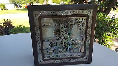 Antique Oriental Mother of Pearl Inlay Wooden Box Stunning!