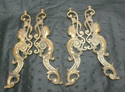 4 Antique Victorian Really Fancy Cast brass Ornamental lamp parts Womans' Head
