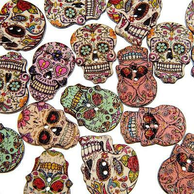 Pack of 5 Sugar Scull Decorative Buttons, 25mm x 18mm, Wooden - Craft / Sewing