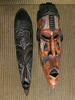 Set of 2 Wooden wall masks from Ghana / Africa (#2)