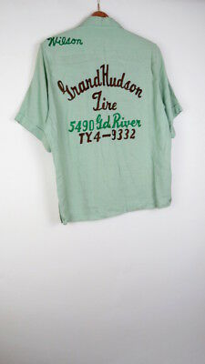 Vintage King Louie Grand Hudson Tire Jesse green rayon bowling shirt M