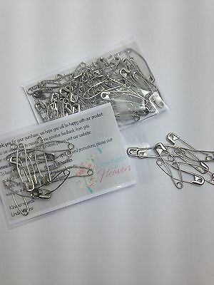 Premium Quality Curved Safety Pins Size 2/37mm - Hardened & Nickel Plated -50pcs