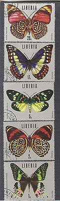 Liberia-1974-Tropical Butterflies Short Set-(Sg 995-9)-Cto-Hinge Remnants-$5