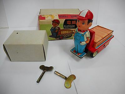 Vintage Made In China Platform Truck Ms 856 Tin Clockwork Toy Boxed