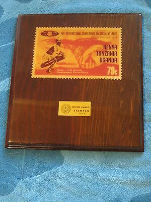 Stampco 1976 second award plaque Int'l social Welfare Kenya Tanzania Uganda 70c