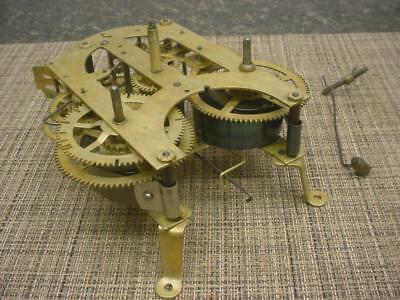 Unsigned Mantle / Wall Clock Brass Movement  Parts or repair work E767