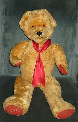 """Vintage Unmarked Cuddly Jointed Toy Teddy Bear Mohair Red Canvas Paws 30""""h"""