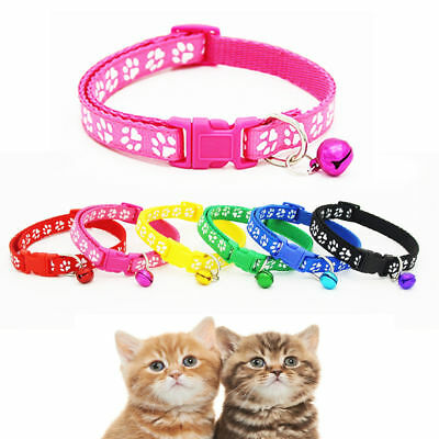 6Colors Nylon Fabric Cat Dog Pet Collar With Bell Footprint Pattern Kitten Puppy