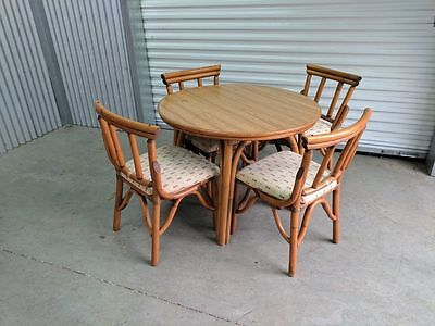 Vintage TIKI Set Bamboo Rattan 4 Chair and Table SET ~ Custom Smaller 3/4 Size