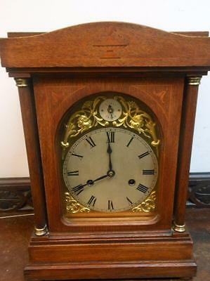 oak inlaid westminster bracket clock by hac c1900s