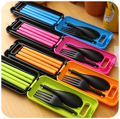 Portable 1Set Travel Cutlery Fork SpoonPortable Camping Box Picnic Chopstick