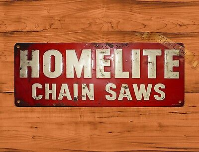 "TIN-UPS TIN SIGN ""Homelite Old"" NOT EMBOSSED Garage Chainsaw Rustic Wall Decor"