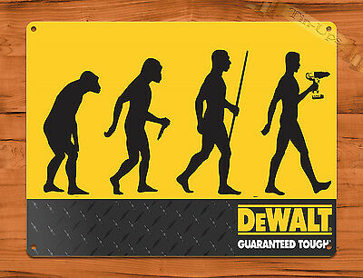 "TIN-UPS TIN SIGN ""DeWalt Tools Evolution"" Vintage Rustic Wall Decor"