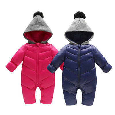 3-18 Months Baby Boys Girls Down Jacket Rompers Infant Kids Hooded Bodysuit Coat