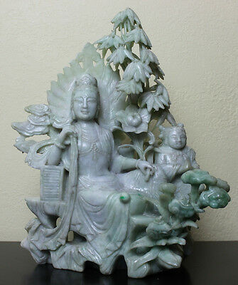 Vintage Chinese Natural Jade Jadeite Kwan Yin with Child Carving Statue