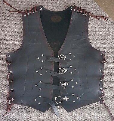 Mens Motorcycle Vest - 4Mm Thick Buffalo Hide Leather - Black
