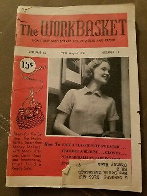 August 1951 The Workbasket Magazine Home & Needlecraft For Pleasure & Profit