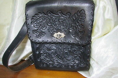 Vintage 1970's Hand Tooled Leather Hand Bag