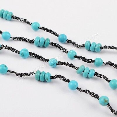 "5Pcs 32"" 4mm Blue Howlite Turquoise Beads Long Chain Necklace DIY NEW HOT HWX569"