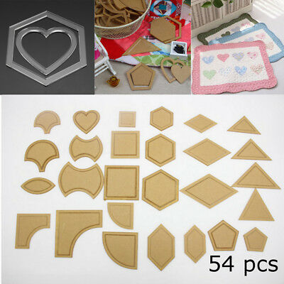 54pcs Acrylic Quilt Quilting Template Ruler DIY Sewing Tool for Patchwork Craft