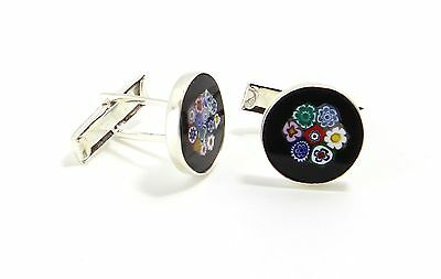 Gemelli Polsini Cufflinks Murrine Multicolor Vetro di Murano Made in Italy