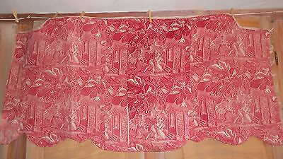 French antique Toile hand quilted pelmet fragment cotton home spun hemp 1800's