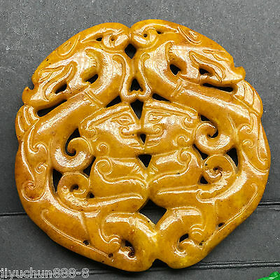 Old Chinese Neolithic xiuyu jade Hand carved Amulet Pendant   01548956