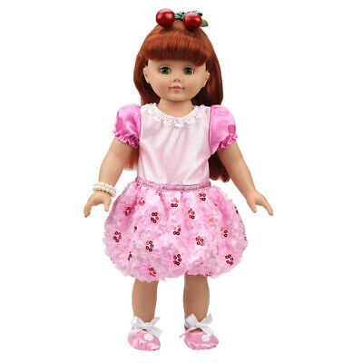 Fashion Clothes Pink Sequins Party Dress for 18 inch American Girl Dolls