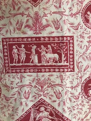 """Antique C 1900s French toile De Jouy Fabric Panel For Collectors 17""""X 34"""""""
