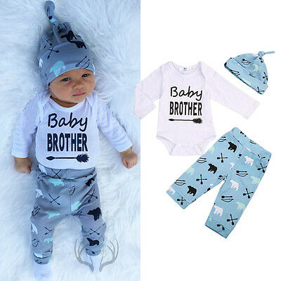 Newborn Baby Boys Long Sleeve Romper Top Pants Leggings Hat Outfit Clothes UK