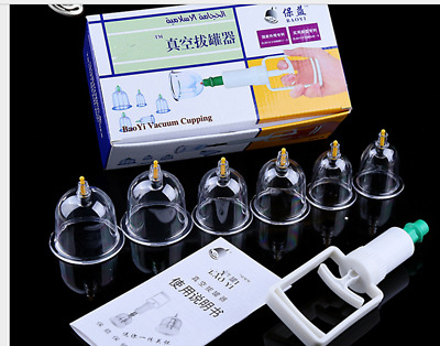NEW 6 CUPS Massage Cofoe Slimming CUPPING Therapy Vacuum Acupuncture SET