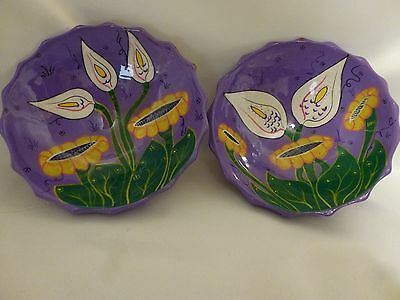 Mexican Calla Lily Hand Painted Pottery Dish Bowls Mexico, Set of Two (2)