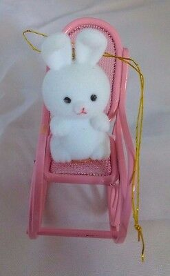 Avon Spring Bunny Collection Bunny in a Pink Metal Rocker Easter Ornament