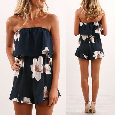 UK Womens One Shoulder Jumpsuit Ladies Floral Holiday Beach Mini Shorts Playsuit