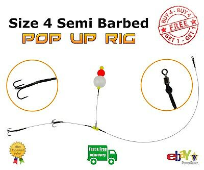 Size 4 Semi-Barbed Pop Up wire Trace BUY 4 GET 1 FREE Pike Fishing Dead Bait Rig