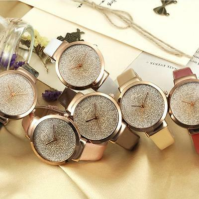 Women's Leather Casual Watch Luxury Analog Quartz Crystal Shining Wristwatch