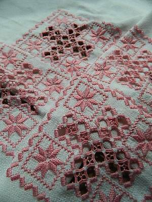 Vintage linen hand embroidered tablecloth - pink Hardanger embroidery