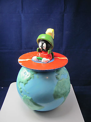 """Warner Bros Marvin The Martian Top Of The World Cookie Jar 10"""" Near Mint"""
